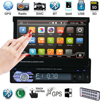 "Single 1 Din 7"" HD GPS Flip Bluetooth Car Stereo Radio MP5 Player Touch USB SD"