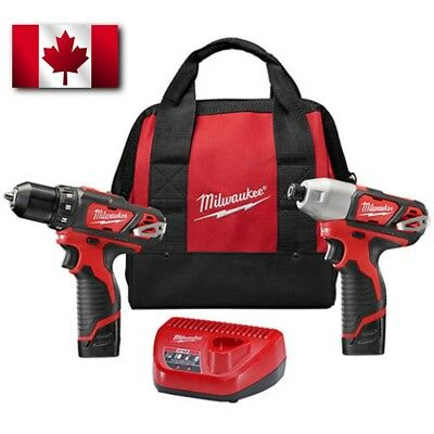 New Milwaukee 2494-22 M12 Cordless Combo Drill/ Driver Kit, 2 Battery W/ Charger