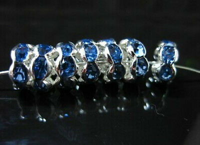 Free Shipping 50Pcs Silver Plated Blue Lacy Crystal Loose DIY Spacer Beads 8mm