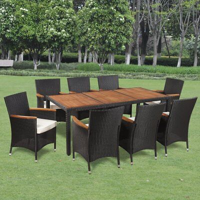 17 Piece Wicker Rattan Outdoor Dining Set Furniture Chairs Table Garden Setting