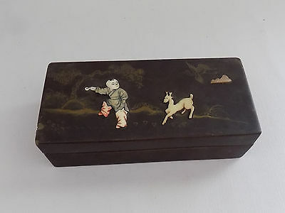 Chinese Antique Hard Stone & Lacquer Painted Retangle Box Boy Deer Pine Tree