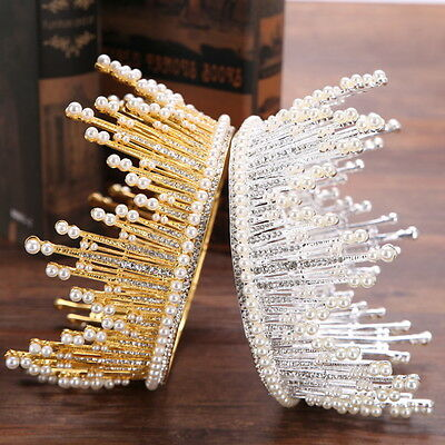 """2 Colours Pearl Crystal Queen Crown Wedding Bridal Party Pageant Prom 5.75"""" Wide"""