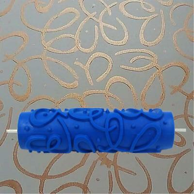 7Inch Embossed Abstract Pattern Paint Roller Brush DIY Wall Decoration Blue