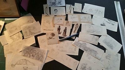 Collection of 37 miniature sketches, some pen and ink, mostly 19thC