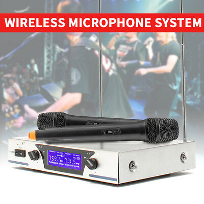 AU Wireless Microphone System Dual Handheld Cordless 2 Mic Receiver Professional