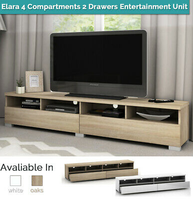 4 Compartments 2 Drawers Entertainment Unit TV Stand Cabinet Table