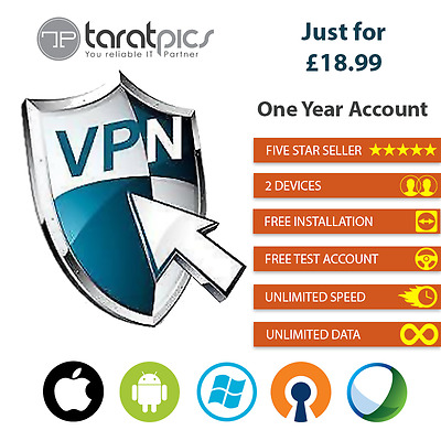 VPN SERVICE ALL IN ONE ACCOUNT 1 Year 2 Devices +200 Servers 7 Countries