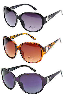 Gionni Womens Designer Large Frame Diamante Detail Sunglasses With New Free Case