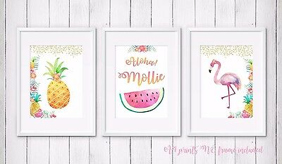 3 Tropical Flamingo Pineapple Nursery Room Wall Art Print Picture Personalised