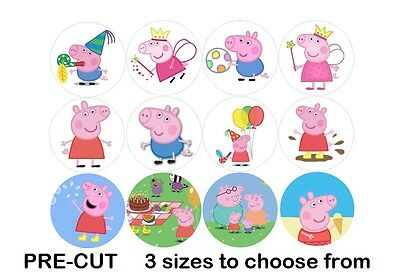 Peppa Pig Edible Icing Cupcake Toppers 3 sizes PRE-CUT 12 or 24