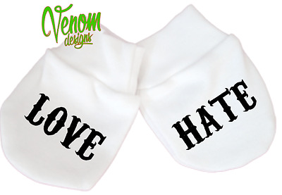 Love Hate mittens alternative baby clothes tattoo gift metal PERSONALISED VEST