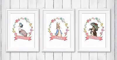 3 Personalised Peter Rabbit Name Christening Gift Picture Print Nursery Wall Art