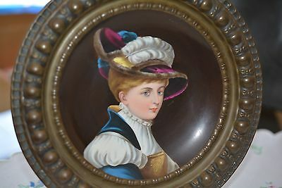 Antique Victorian Lady Hat Feather Hand-painted on Porcelain Wall Plate Dish