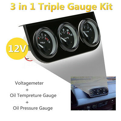 52mm 3 in 1 Car Triple Kit Volt Meter Water Temp Oil Pressure Gauge Tachometer
