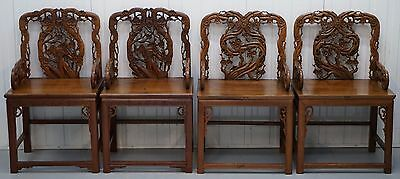Very Rare Set Of 4 Antique Zitan Passion Flower Carved Chinese Imperial Chairs
