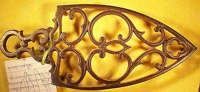 "Vtg Cast Iron Trivet Cathedral Like 9"" Long 3 3/4"" Wide 3/4"" Feet- No Mark"