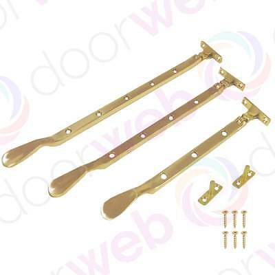 BRASS WINDOW CASEMENT STAY Fasteners Latch Arm Catch Lever Hold Stays Spoon Neck