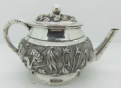 Chinese Export solid silver TEAPOT.  Repoussed BIRDS, PLUM BLOSSOM, BAMBOO c1900