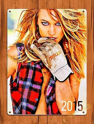 "TIN-UPS TIN SIGN ""Stihl Glove Calender Girl"" Vintage Pin Up Rustic Wall Decor"