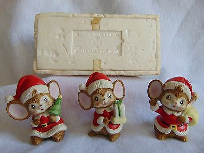 Vintage Porcelain Brown Mice Figurines With Red Santa Hats -5405- 3 Mice- Homco