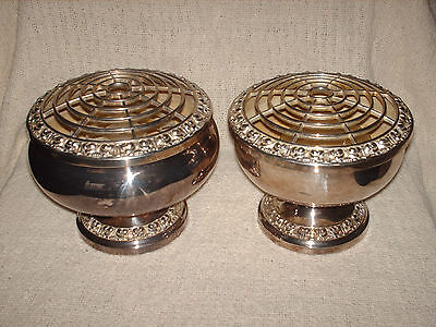 2 lanthe silver plated vases flower holders 12.5 cm high & 13 cm high