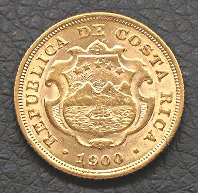 "1900 Costa Rica - 10 Colones ( DIEZ ) Gold Coin.  ""MS"" Uncirculated -   KM#:140"