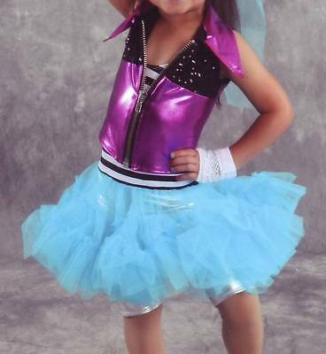 Girls XS Dance Tap Jazz outfit costume Dress Up Art Stone tutu jacket sequins