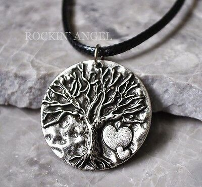 Antique Silver Plt Hearts Tree of Life Pendant Necklace, Pagan Wiccan Celt Gift