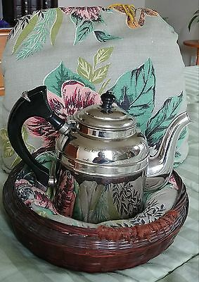 Vintage ROME Metal Ware Chrome Teapot & Tea Cozy, Basket