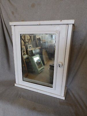 Vtg Industrial Metal Surface Mount Old Medicine Cabinet Mirror Factory 219-17P