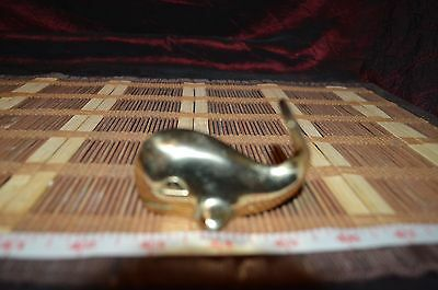 Vintage Figurine Small Solid Brass Whale w/ Flipped Up Tail