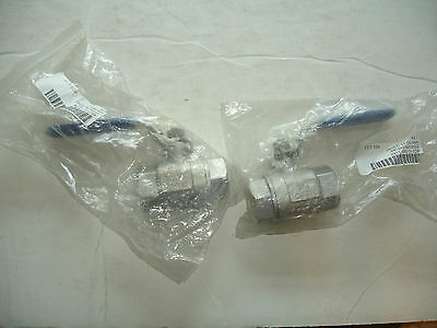 """Lot 2 x2 Globe SS Stainless Steel 3/4"""" inch female Ball Valve 949184 1000psi WOG"""