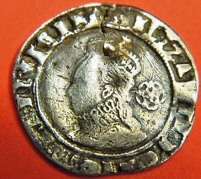 Tudor 1578 Elizabeth 1St Silver Sixpence Mm Greek Cross Rose Beside Bust, (Ju3)