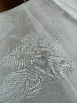 "Vintage UNUSED cream Irish linen damask tablecloth - design of LILIES  64"" x 66"""
