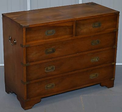 Yew Wood Veneer Military Campaign Chest Of Drawers With Brass Fittings & Handles