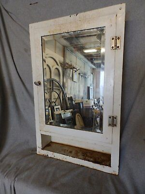 Vtg Industrial Metal Recessed Mount Old Medicine Cabinet Beveled Mirror  222-17P
