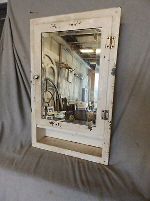 Vtg Industrial Metal Recessed Mount Old Medicine Cabinet Beveled Mirror  224-17P