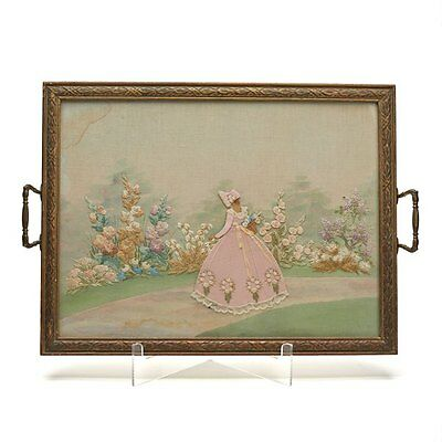 Vintage Hand Embroidered Crinoline Twin Handled Tray 20 C.