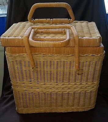 Vintage Wicker Picnic or Sewing Basket with Latching Handle