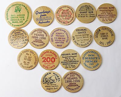 16- Wooden Nickels Maine,new Hampshire And Nebraska