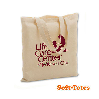 COTTON SOFT TOTES, FLAT STYLE - 100 quantity - Custom Printed with Your Logo