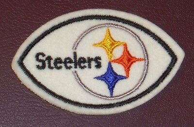 Vintage Pittsburgh Steelers Nfl Logo Football Shaped Sew On Patch