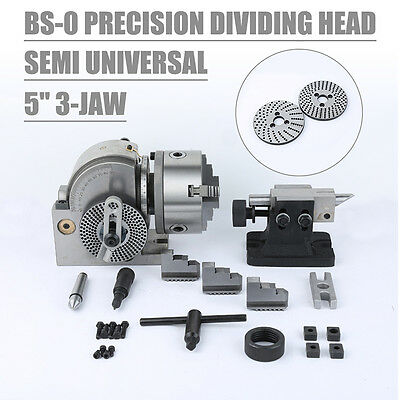 """Hot BS-0 Presision 5"""" Semi Universal Dividing Head 3-Jaw Chuck Reliable Milling"""