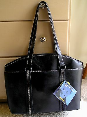 NEW!!~ Women's FRANKLIN COVEY Laptop Tote~Black Leather w/Small Removeable Bag