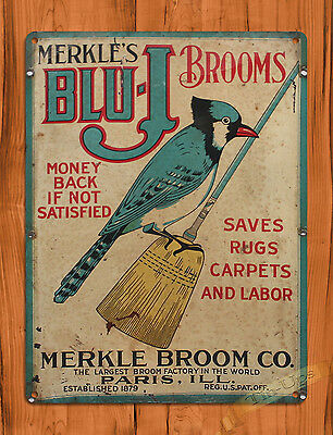 """TIN SIGN """"Blue Jay Brooms"""" Vintage Kitchen Rustic Wall Decor"""