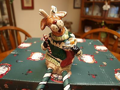 Heather Goldminc Blue Sky Clayworks Blaze The Reindeer Stocking Holder Shelf Sit