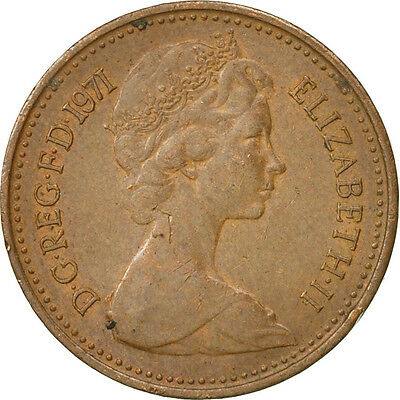 [#467162] Great Britain, Elizabeth II, 1/2 New Penny, 1971, VF(30-35), Bronze