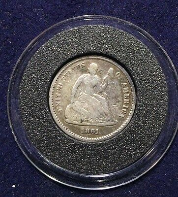 1861 Silver Liberty Seated Half Dime Very Good Details