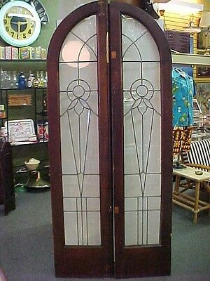 Pair of Rare Antique 1900's Beveled Leaded Glass French Doors Arched Top Detroit