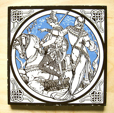 Minton Tile by John Moyr Smith c.1876 - 'Idylls of the King' Series - 'Lynette'